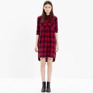 Madewell Daywalk Red & Black Plaid Shirt Dress Sm